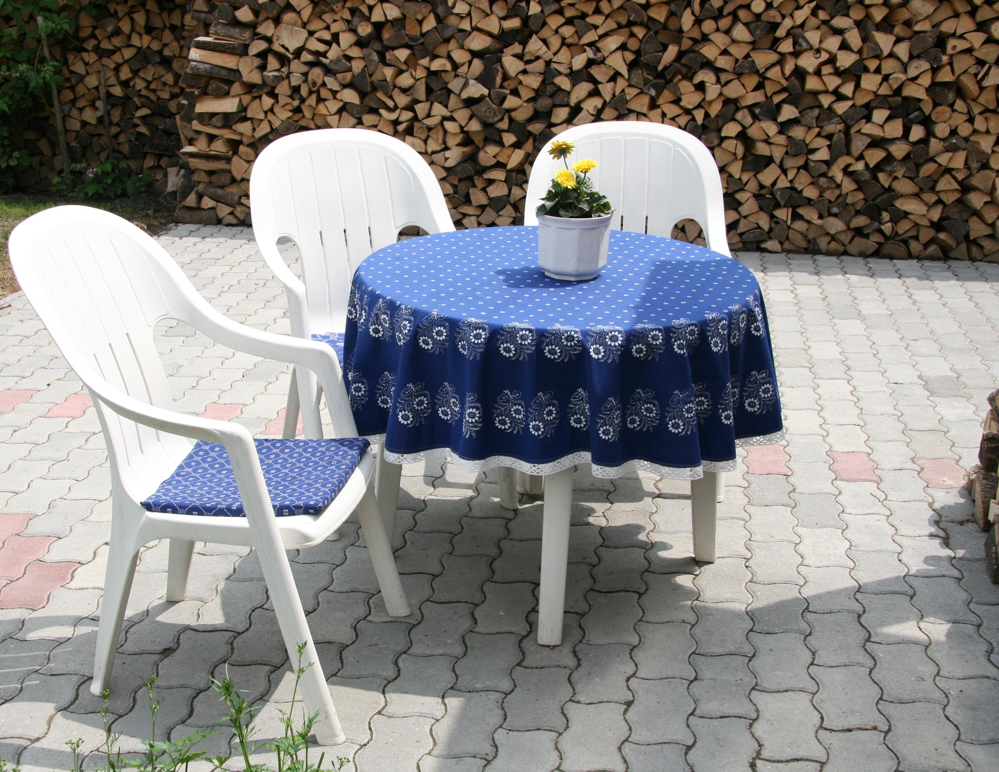 Blue dye tablecloth